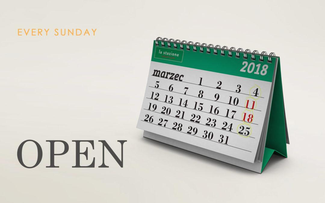 Otwarte w każdą niedzielę !