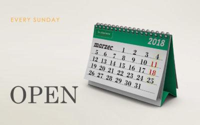 Mamy otwarte w każdą niedzielę !